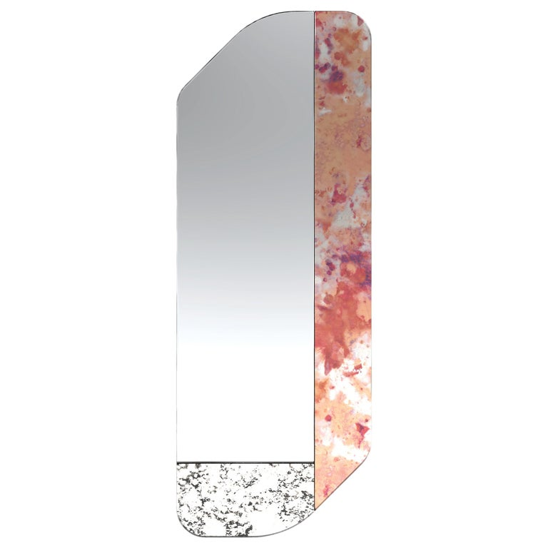 Pink and Speckled WG.C1.D Hand-Crafted Wall Mirror For Sale