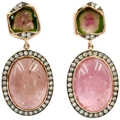 Pink and Watermelon Tourmaline Diamond Rose Gold Drop Earrings