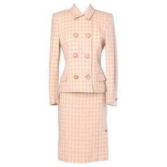 Pink and white checkered wool suit Gianni Versace couture
