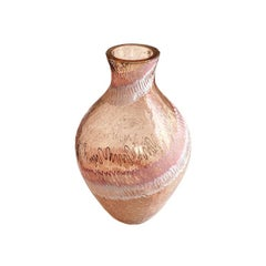 Pink and White Crackle Painted Art Glass Vase