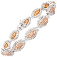 Pink and White Diamond 18 Karat White and Rose Gold Bracelet