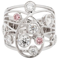 Pink and White Diamond 18 Karat White Gold Dress Ring