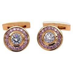 Pink and White Diamond and Gold Cufflinks