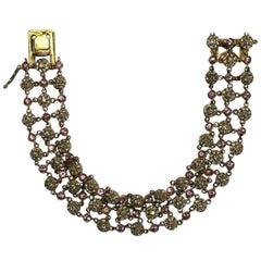 Pink and White Diamond Bracelet in 18 Karat Rose Gold