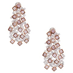 Pink and White Diamond Cluster Earrings