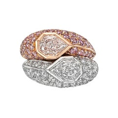 Pink and White Diamond Domed Double Ring