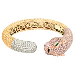Pink and White Diamond Panther Bangle Bracelet, 8.43 Carat