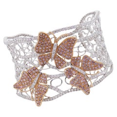 Pink and White Diamond Pave Open Work Butterfly Bangle