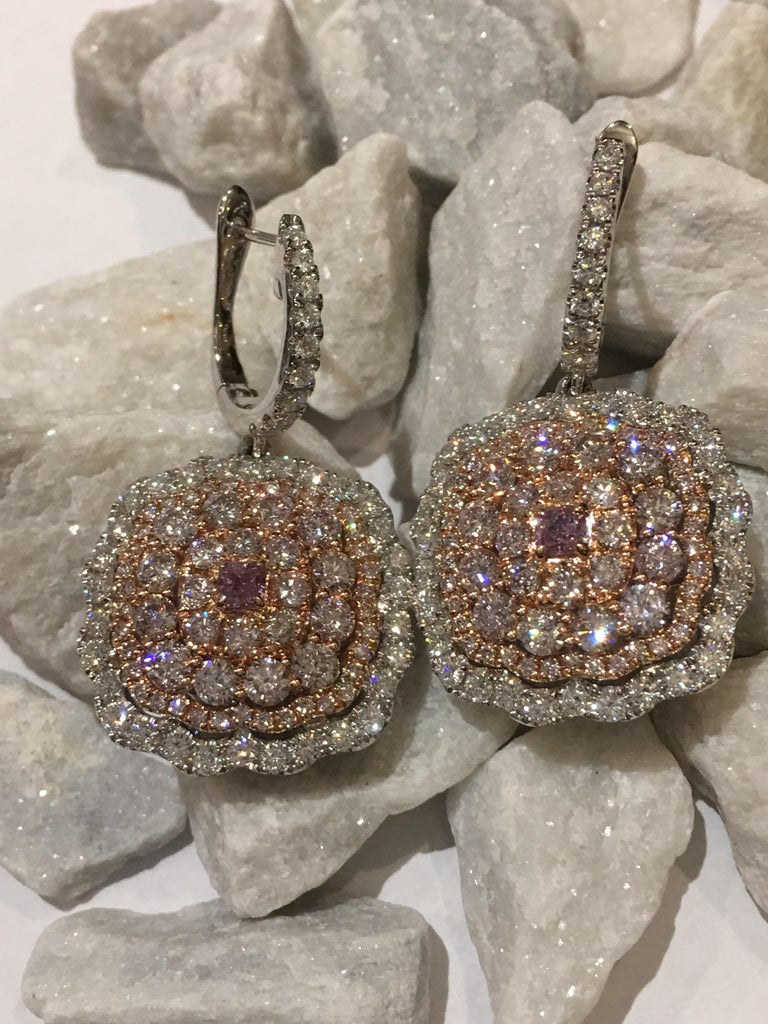 Women's Pink and White Diamond Set in 14 Karat Gold For Sale