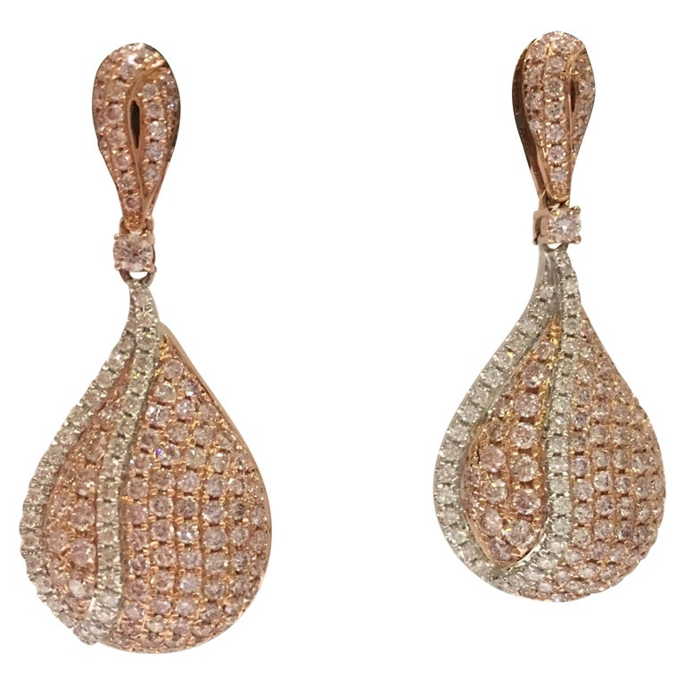 Pink And White Diamond Set In 14 Karat Two Tone Gold Earrings