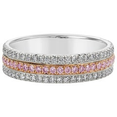 Pink and White Diamond Three-Row Wedding Band