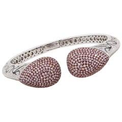 Pink and White Pave Diamond Bangle