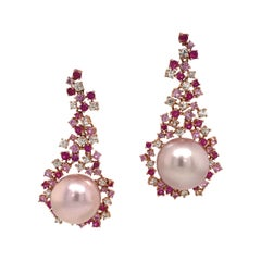 Pink and White Sapphire Freshwater Pearl Drop Earrings 4.72 Carat 18 Karat