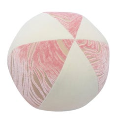 Pink and White Velvet Ball Pillow