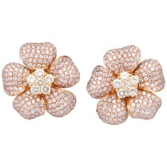 Pink and Yellow Diamond Flower Earring