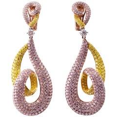 Pink and Yellow Diamond Swirl Earrings