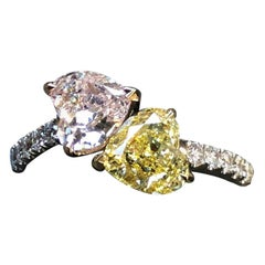 "GIA Certified Pink and Yellow Heart Shape Diamond ""Toi et Moi"" Ring"