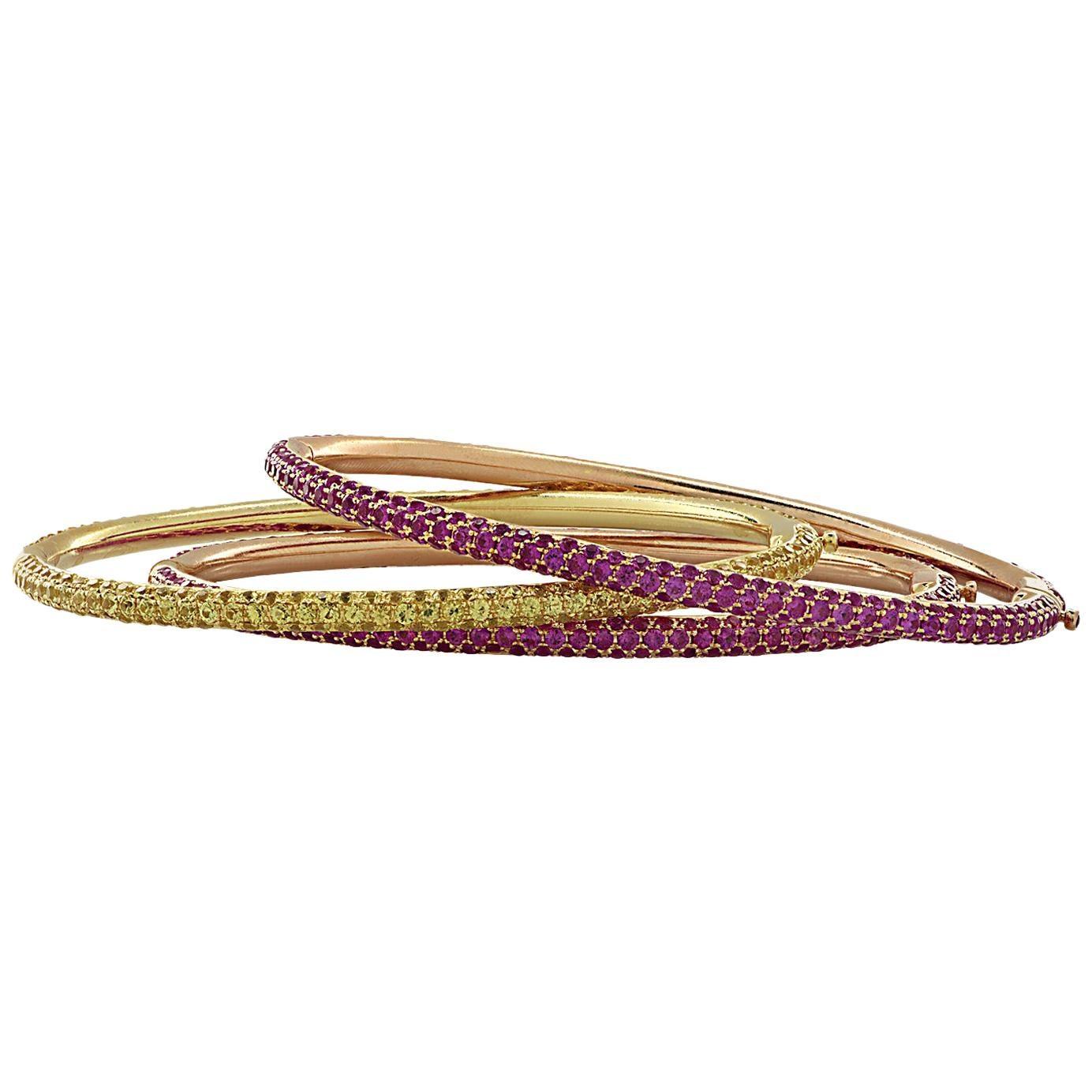 Pink and Yellow Sapphire Bangle Bracelet Set