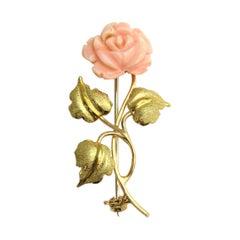 Pink Angel Coral 18 Karat Gold Rose Brooch Pin
