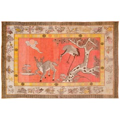 Pink Antique Pictorial Samarkand Wool Rug