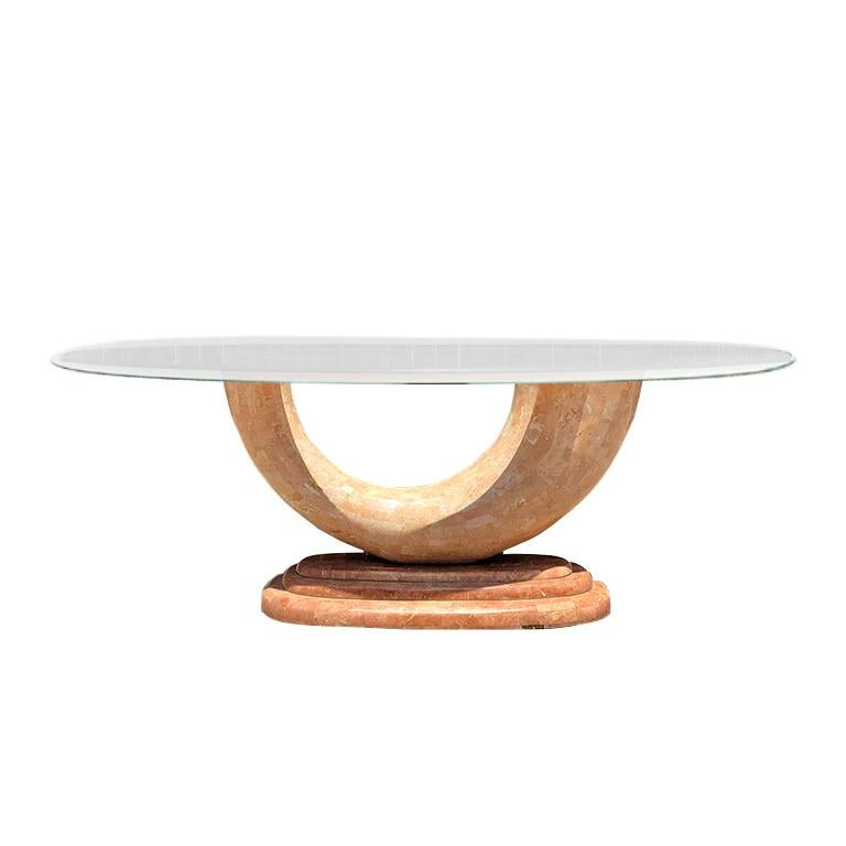 Pink Art Deco Marble Dining Table with Brass Inlay Waterfall Base and glass top For Sale