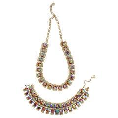 Pink Aurora Borealis Rhinestone Demi-Parure Necklace & Bracelet Set, circa 1960s