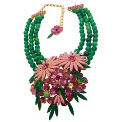 Pink Austrian Crystal Floral Cluster Green Agate Semi-Precious Bead Necklace