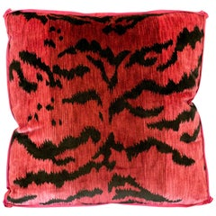 Pink Bevilacqua Tiger Silk Velvet and Satin Pillow by Studio Maison Nurita