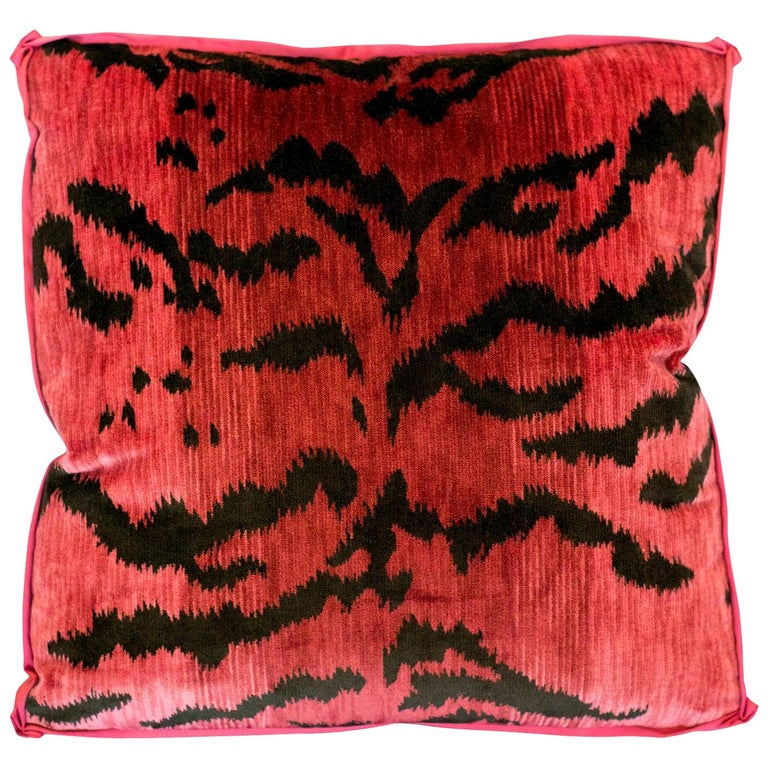 Pink Bevilacqua Tiger Silk Velvet and Satin Pillow by Studio Maison Nurita For Sale