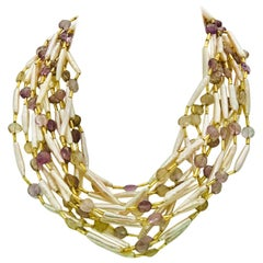 Pink Biwa Pearls  Amethist Beads  6 strand Necklace, by Sylvia Gottwald