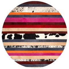 Pink & Black Striped Round Customizable Nueva Raya Cowhide Area Floor Rug Large