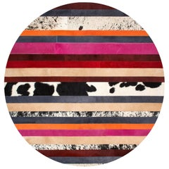 Pink & Black Striped Round Customizable Nueva Raya Cowhide Area Floor Rug Medium