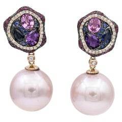 Pink-Blue Sapphire with Diamonds Accent, Pink Freshwater Pearl Dangle Earrings