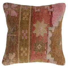 Pink Brown Tribal Turkish Rug Pillow