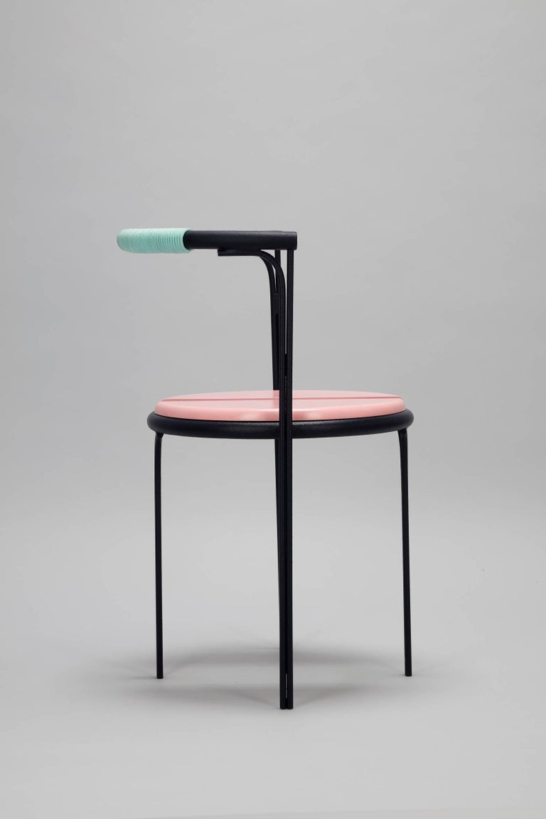 Modern Pink Cafe Chair Caoba Wood Contemporary Style For Sale