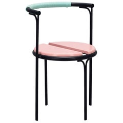 Pink Cafe Chair Caoba Wood Contemporary Style