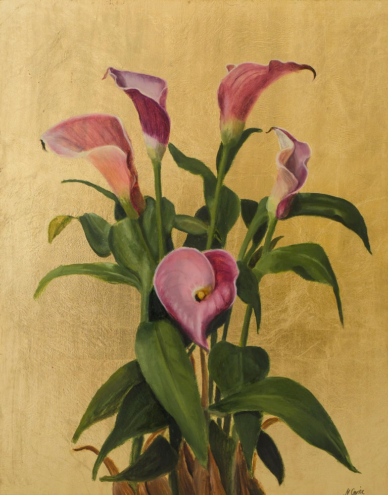Pink Calla Lilies, Still Life Oil Painting In New Condition For Sale In London, GB