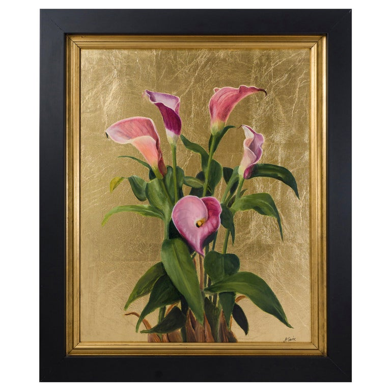 Pink Calla Lilies, Still Life Oil Painting For Sale