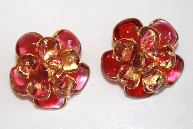 Pink Camelia Clip Earrings  In New Condition For Sale In Virginia Beach, VA