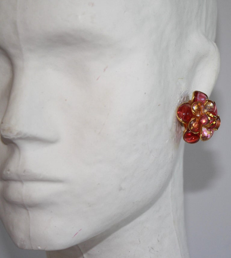Women's Pink Camelia Clip Earrings  For Sale