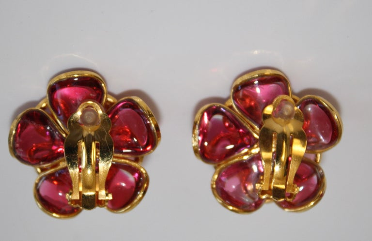 Pink Camelia Clip Earrings  For Sale 1