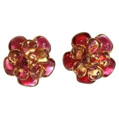 Pink Camelia Clip Earrings