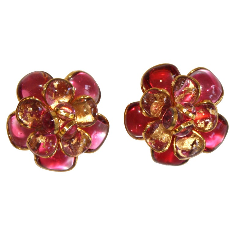 Pink Camelia Clip Earrings  For Sale