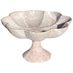 Pink Carved Italian Marble Stone Pedestal Fruit Bowl with Scalloped Edges