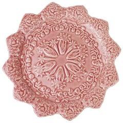 Pink Ceramic Majolica Spring Motif Plate by Rafael Bordallo Pinheiro, Portugal