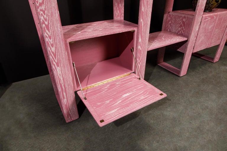 Pink Cerused Oak Modular Bookcase Room Divider by Lou Hodges, 1970s  For Sale 4