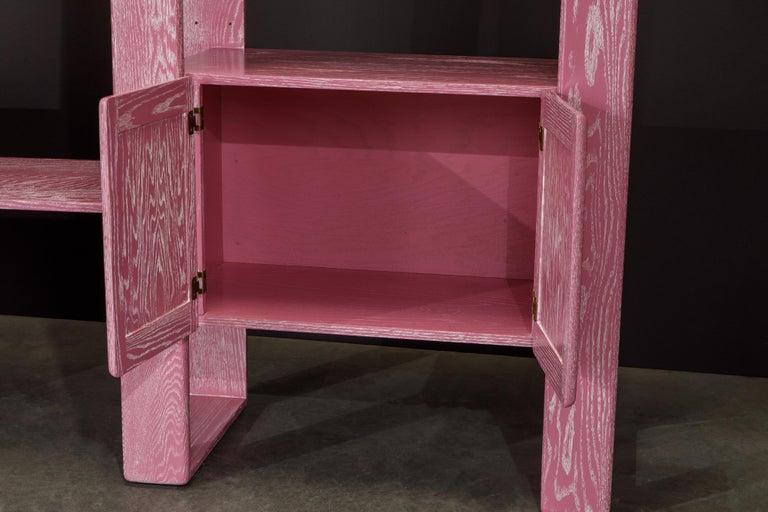 Pink Cerused Oak Modular Bookcase Room Divider by Lou Hodges, 1970s  For Sale 6