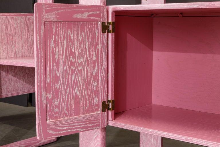 Pink Cerused Oak Modular Bookcase Room Divider by Lou Hodges, 1970s  For Sale 7