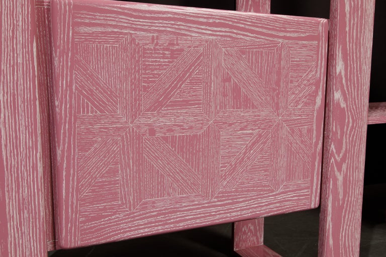 Pink Cerused Oak Modular Bookcase Room Divider by Lou Hodges, 1970s  For Sale 10