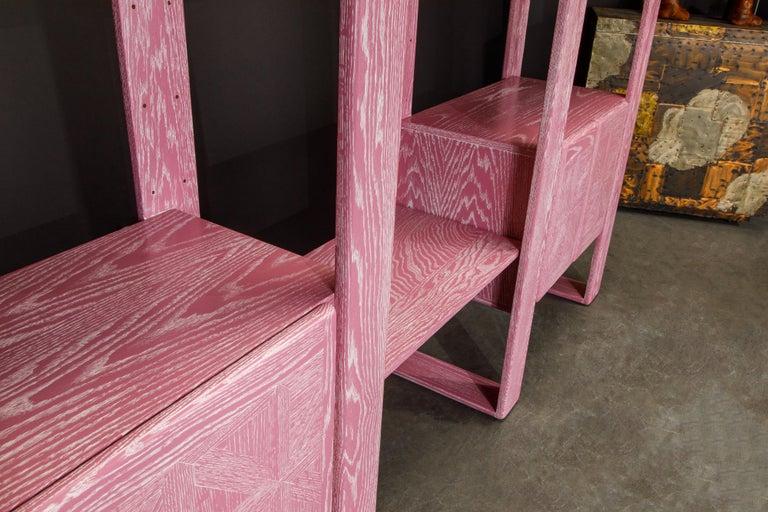 Pink Cerused Oak Modular Bookcase Room Divider by Lou Hodges, 1970s  For Sale 12
